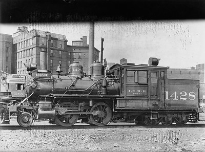 2009.026.01.14566--ritzman 5x7 GLASS PLATE COPY negative [AW Johnson]--ICRR--steam 2-4-6T 1428 last run Addison passenger train--Chicago IL--1931 0812. Original by A.W. Johnson. Last run of Addison train, 6/13/1931.