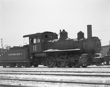 2009.026.01.14437--ritzman 4x5 negative--South Omaha Terminal Rwy Co--steam locomotive 0-6-0 11--DeKalb IL--1947 0107. Baldwin #23861, built 3/1904, on wayfreight eastbound 2:00pm.