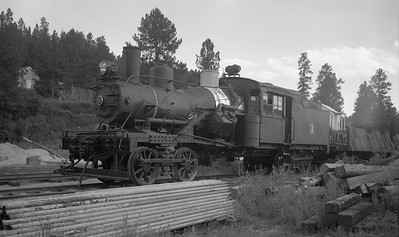 2009.026.01.14507--ritzman PC negative--Black Hills Central--Craig Mountain Heisler steam locomotive 3 on display at museum--Hill City SD--1958 0800