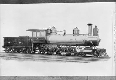2009.026.01.14501--ritzman 5x7 COPY negative--Beech Creek--steam locomotive 4-8-0 11 builders photo--no location--1888. From Schenectady Locomotive Works 1897 catalog of A.C. Cobb.