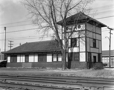 2009.026.15.14270--ritzman 4x5 negative--C&IV--depot substation--DePue IL--1965 0228. Looking north along CRI&P tracks.
