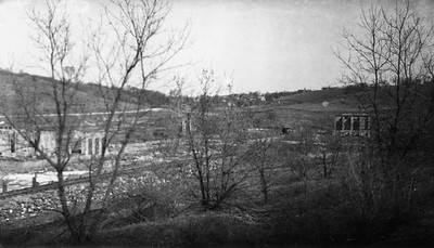 2009.026.2.35.012--ritzman print--C&NW--view of abandoned mine looking northeast--0.75 mile west of New Diggings WI--1934 0429