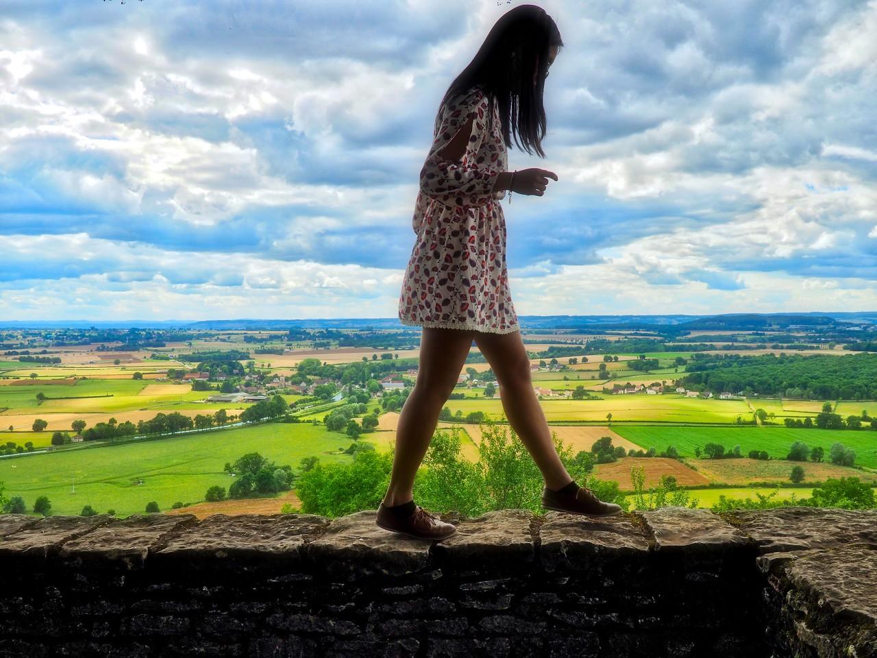 Erika walking on the ledge