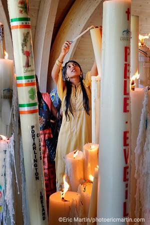 LOURDES. Reportage réalisé pendant le Pèlerinage National du 13 au 19 août 2019. Sanctuaire Notre-Dame de Lourdes. Chapelle de lumière.