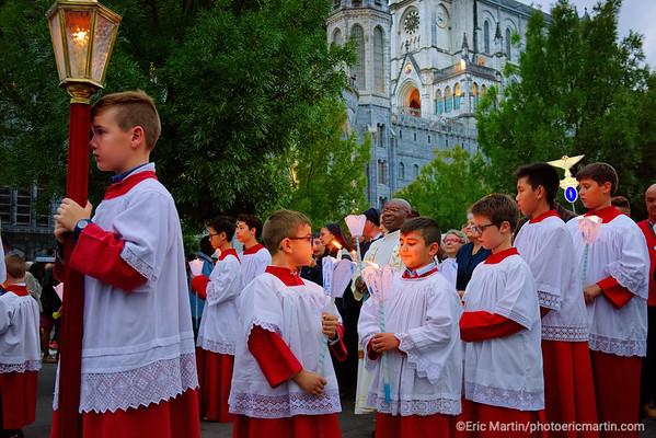 LOURDES. Reportage réalisé pendant le Pèlerinage National du 13 au 19 août 2019. Sanctuaire Notre-Dame de Lourdes. Precession Eucharistique