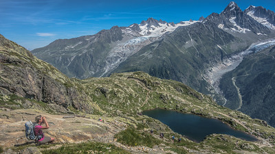 """Looking at Argentière glacier from the """"White Lake"""" area"""