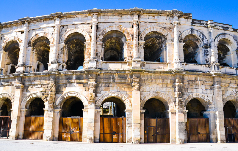 The Arena of Nîmes<br /> Roman Amphitheatre (built around 70 AD)<br /> Nîmes<br /> Languedoc-Roussillon Region, South France