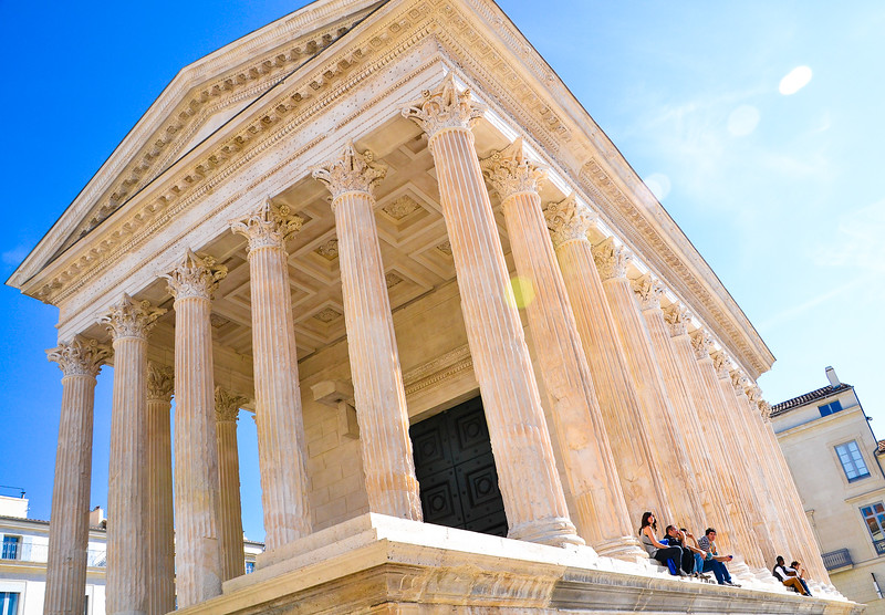 The Maison Carrée<br /> Nîmes<br /> Languedoc-Roussillon Region, South France<br /> <br /> The Maison Carrée is an ancient building, one of the best preserved Roman temples to be found anywhere in the territory of the former Roman Empire.