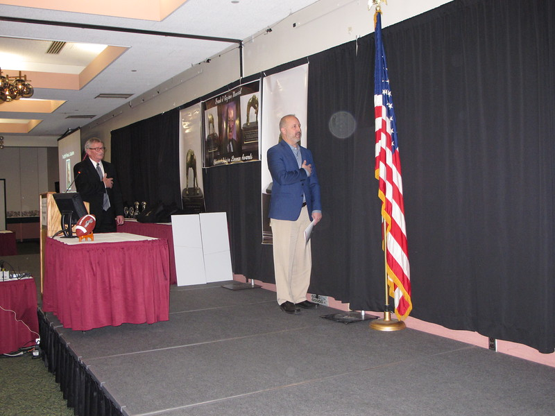 Pete Cloutier leading the Pledge of Allegiance and Prayer