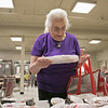The Fitchburg Senior Center has a  meat, bread and pastry outreach program twice a week. Seniors or veterans can come in and get some food assistance if they need it. The food is donated by Hannaford Supermarket. Hannelore Colasanto picks out some of the meat they had on Friday, August 2, 2019. SENTINEL & ENTERPRISE/JOHN LOVE