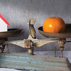 Old business tools with fruit