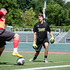Fitchburg State's Connor Smith protects the goal during the Fitchburg State alumni soccer game on Saturday afternoon, with current players facing off against alumni. SENTINEL & ENTERPRISE / Ashley Green