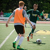 Fitchburg State's Steven Martinez goes for the ball during the Fitchburg State alumni soccer game on Saturday afternoon, with current players facing off against alumni. SENTINEL & ENTERPRISE / Ashley Green