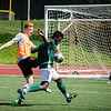 Fitchburg State's Marck Bastein and alum Tom Sorrention goes after the ball during the alumni soccer game on Saturday afternoon.  SENTINEL & ENTERPRISE / Ashley Green