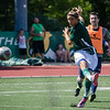 Fitchburg State's Zak Pesetsky kicks the ball during the alumni soccer game on Saturday afternoon, with current players facing off against alumni. SENTINEL & ENTERPRISE / Ashley Green