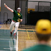 Fitchburg State University baseball pitcher junior Ben Chiasson from Maynard practices his pitches with fellow teammate and pitcher senior Andrew Lessard from Peabody at practice on Wednesday February 15, 2017. SENTINEL & ENTERPRISE/JOHN LOVE