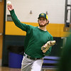 Fitchburg State University baseball pitcher senior Andrew Lessard from Peabody practices his pitches with fellow teammate and pitcher junior Ben Chiasson from Maynard at practice on Wednesday February 15, 2017. SENTINEL & ENTERPRISE/JOHN LOVE