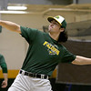 Fitchburg State University baseball outfielder junior Andrew Currie from Quincy throws the ball around to end practice on Wednesday February 15, 2017. SENTINEL & ENTERPRISE/JOHN LOVE
