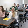 Fitchburg State University students talk about the survey they did on what people thought of Fitchburg in their Current Events and Service Learning class with Assistant Professor of Ecomonics Christa Marr on Tuesday, May 1, 2018. SENTINEL & ENTERPRISE/JOHN LOVE