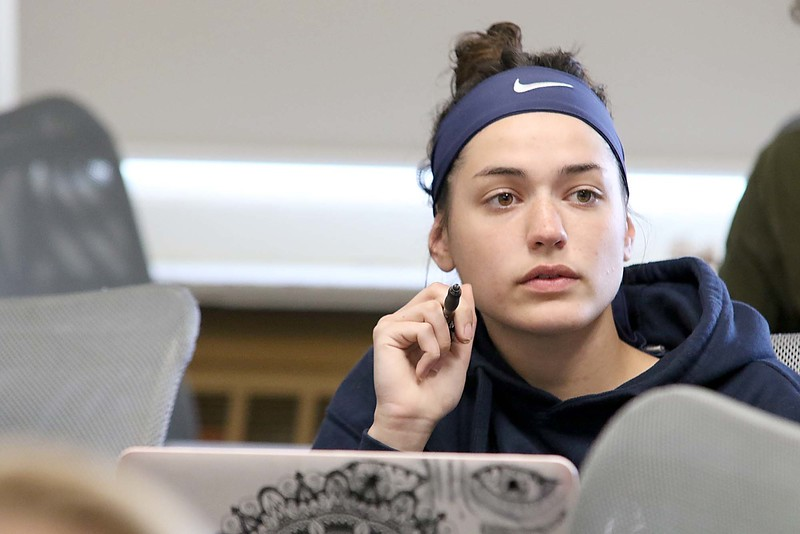 Fitchburg State University sophomore Alyssa Anderson, 19, from Lowell talks about the survey they did on what people thought of Fitchburg in their Current Events and Service Learning class with Assistant Professor of Ecomonics Christa Marr on Tuesday, May 1, 2018. SENTINEL & ENTERPRISE/JOHN LOVE