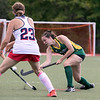 Fitchburg State University field hockey played New England College on Friday, August 30, 2019 at Elliot Field in Fitchburg. FSU's Chloe Gladu passes the ball between to NEC players during action in the game. SENTINEL & ENTERPRISE/JOHN LOVE