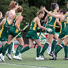 Fitchburg State University field hockey played New England College on Friday, August 30, 2019 at Elliot Field in Fitchburg. FSU's Sophia Sousa is congratulated by teammates on her goal during action in the first half of the game. SENTINEL & ENTERPRISE/JOHN LOVE