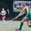 Fitchburg State University field hockey played New England College on Friday, August 30, 2019 at Elliot Field in Fitchburg. FSU's Olivia Grant smacks the hell out of the ball. SENTINEL & ENTERPRISE/JOHN LOVE