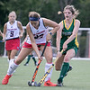 Fitchburg State University field hockey played New England College on Friday, August 30, 2019 at Elliot Field in Fitchburg. FSU's Sarah Craig and NEC's Renee Bouchard fight for control of the ball. SENTINEL & ENTERPRISE/JOHN LOVE