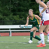 Fitchburg State University field hockey played New England College on Friday, August 30, 2019 at Elliot Field in Fitchburg. FSU's Sophia Sousa watches as her shot score  during action in the first half of the game. SENTINEL & ENTERPRISE/JOHN LOVE