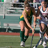 Fitchburg State University women's field hockey played Eastern Connecticut State on Saturday, Nov. 2, 2019. FSU's #12 Sophia Laperie and ECS's #14 Alyson Sanford. SENTINEL & ENTERPRISE/JOHN LOVE