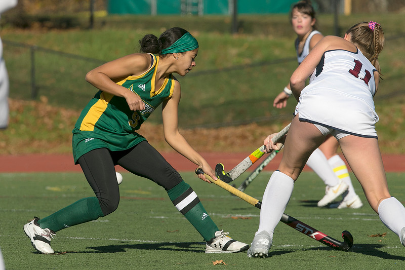 Fitchburg State University women's field hockey played Eastern Connecticut State on Saturday, Nov. 2, 2019. FSU's #9 Yuleinny Salcedo tries to stop ECS's #11 Bryce Makula. SENTINEL & ENTERPRISE/JOHN LOVE