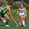 Fitchburg State University women's field hockey played Eastern Connecticut State on Saturday, Nov. 2, 2019. FSU's #12 Sophia Laperie and ECS's #22 Grace Mangiameli. SENTINEL & ENTERPRISE/JOHN LOVE