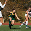 Fitchburg State University women's field hockey played Eastern Connecticut State on Saturday, Nov. 2, 2019. FSU's #3 Shelley Lielasus tries to stop ECS's #11 Bryce Makula. SENTINEL & ENTERPRISE/JOHN LOVE