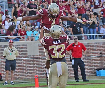 Ryan Green and Gabe Nabers celebrate FSU touchdown