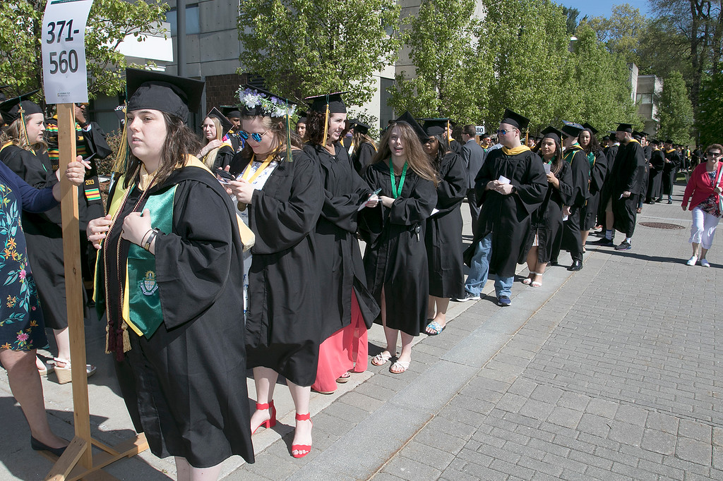. The 123rd Commencement ceremony for Undergraduates was held at Fitchburg State University on Saturday, May 18, 2019. Graduates are all lined up ready for the ceremony to start. SENTINEL & ENTERPRISE/JOHN LOVE