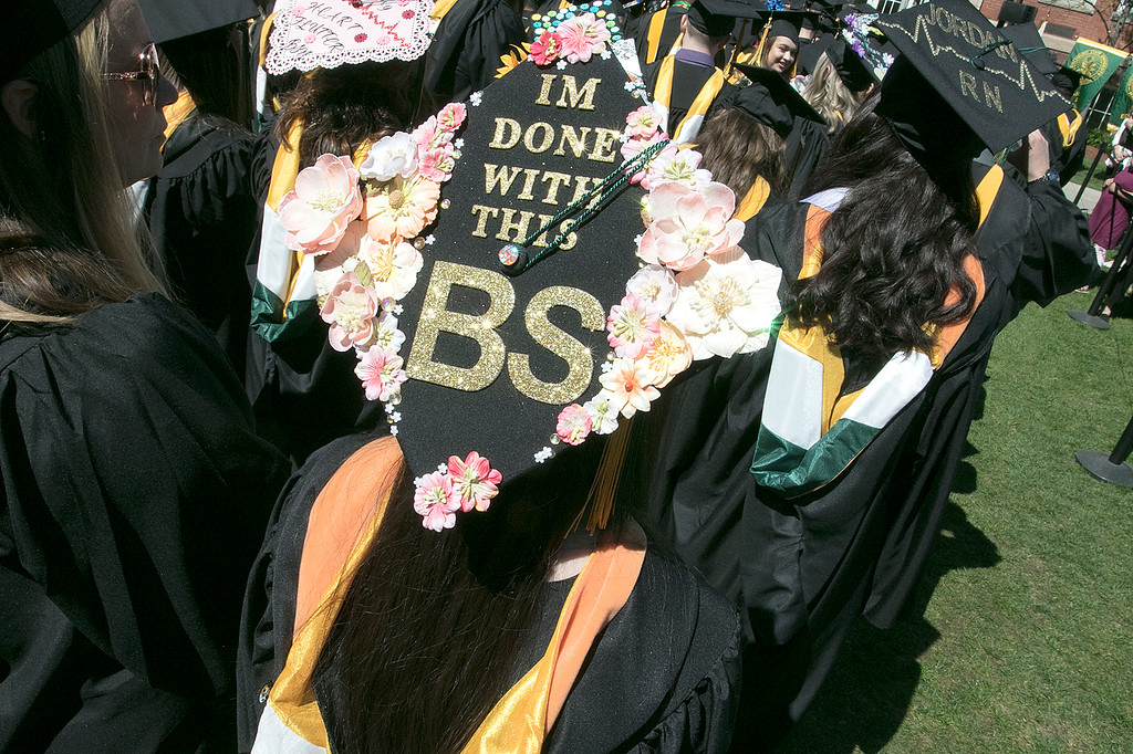 . The 123rd Commencement ceremony for Undergraduates was held at Fitchburg State University on Saturday, May 18, 2019. Another graduates decorated mortar board. SENTINEL & ENTERPRISE/JOHN LOVE