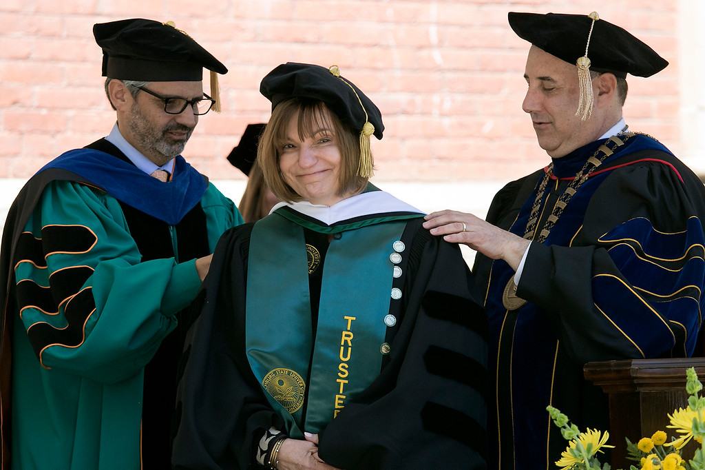 . The 123rd Commencement ceremony for Undergraduates was held at Fitchburg State University on Saturday, May 18, 2019. Getting an honorary degree is Anna Maria Clementi the vice chairman of the Board of Trustees SENTINEL & ENTERPRISE/JOHN LOVE