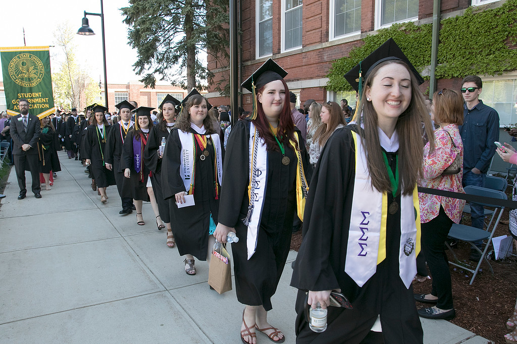 . The 123rd Commencement ceremony for Undergraduates was held at Fitchburg State University on Saturday, May 18, 2019. The graduates parade on to the quad for the ceremony. SENTINEL & ENTERPRISE/JOHN LOVE