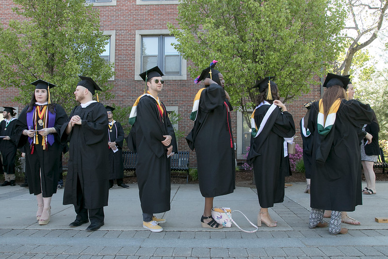 The 123rd Commencement ceremony for Undergraduates was held at Fitchburg State University on Saturday, May 18, 2019. Graduates line up as they get ready to start the ceremony. SENTINEL & ENTERPRISE/JOHN LOVE