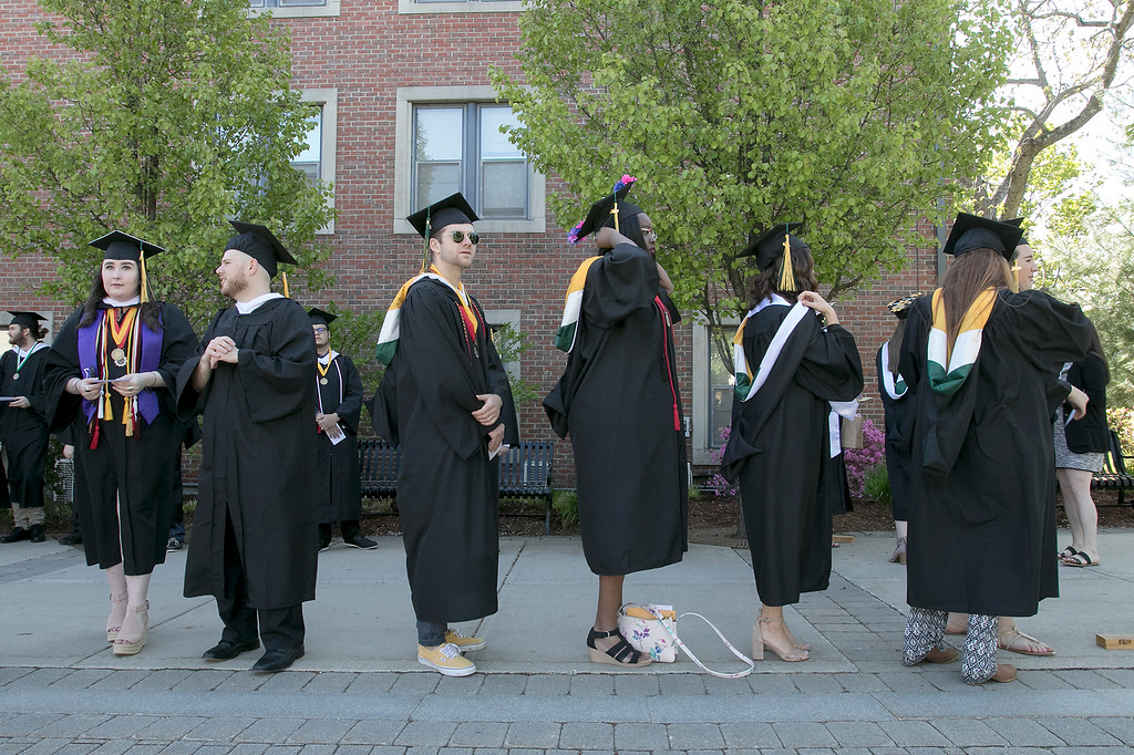 . The 123rd Commencement ceremony for Undergraduates was held at Fitchburg State University on Saturday, May 18, 2019. Graduates line up as they get ready to start the ceremony. SENTINEL & ENTERPRISE/JOHN LOVE
