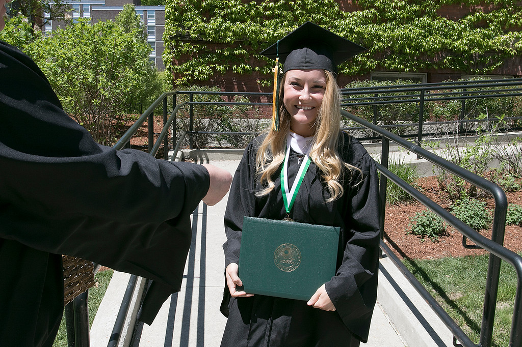 . The 123rd Commencement ceremony for Undergraduates was held at Fitchburg State University on Saturday, May 18, 2019. Graduate Jerrika St. John of Gardner was all smiles after getting her diploma. SENTINEL & ENTERPRISE/JOHN LOVE