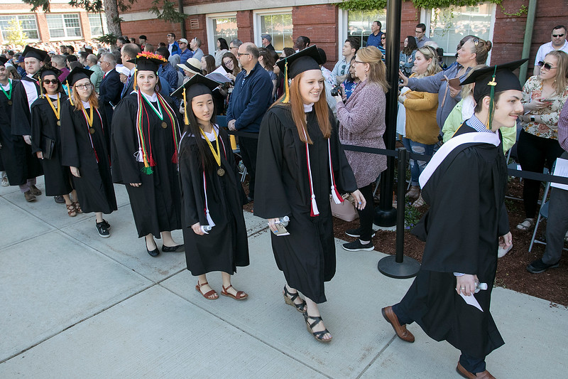 The 123rd Commencement ceremony for Undergraduates was held at Fitchburg State University on Saturday, May 18, 2019. The graduates parade on to the quad for the ceremony. SENTINEL & ENTERPRISE/JOHN LOVE