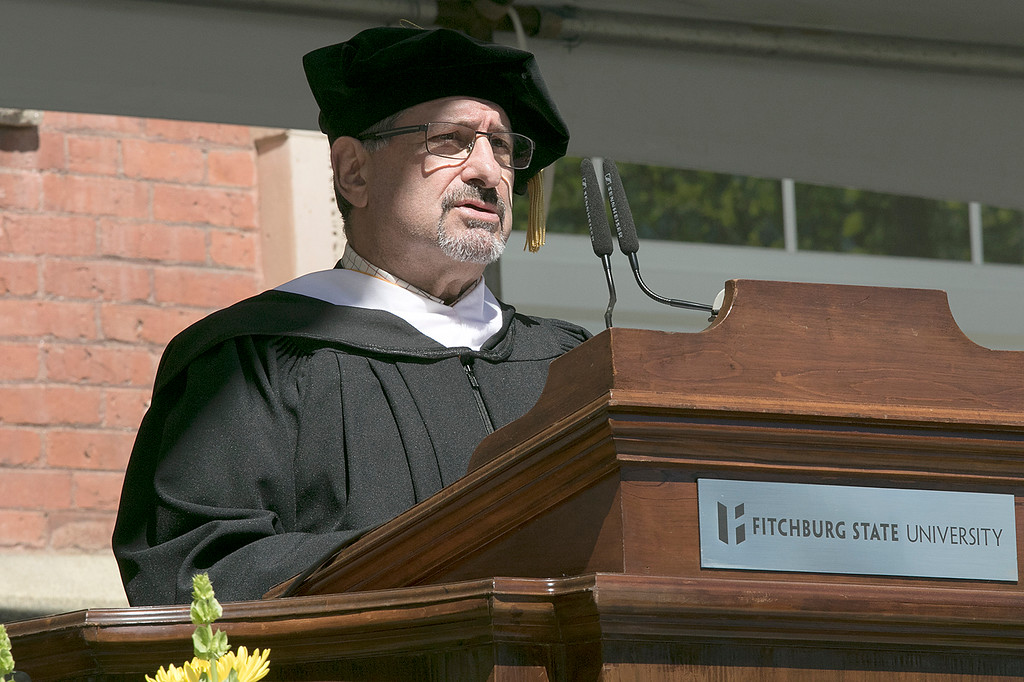 . The 123rd Commencement ceremony for Undergraduates was held at Fitchburg State University on Saturday, May 18, 2019. Fitchburg Mayor Stephen DiNatale addresses the graduates during the ceremony. SENTINEL & ENTERPRISE/JOHN LOVE