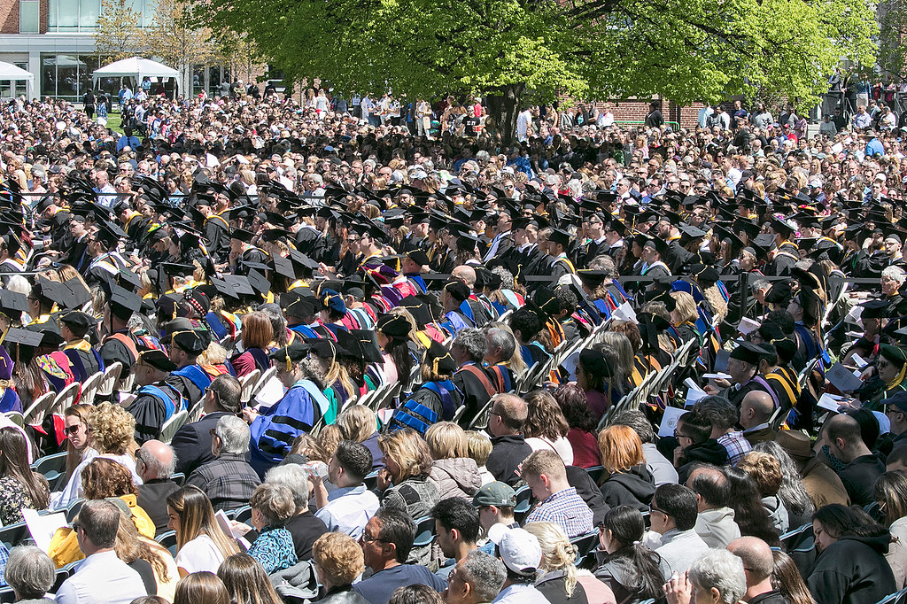 . The 123rd Commencement ceremony for Undergraduates was held at Fitchburg State University on Saturday, May 18, 2019. Their was a sea of family, friends, FSU faculty and graduates on the quad for the ceremony. SENTINEL & ENTERPRISE/JOHN LOVE