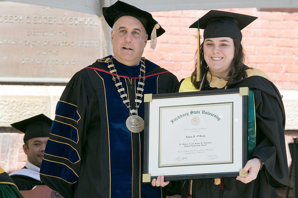 . The 123rd Commencement ceremony for Undergraduates was held at Fitchburg State University on Saturday, May 18, 2019. FSU President Dr. Richard Lapidus presented Hailey O\'Brien the Dr. Robert V. and Jeanne S. Antuonucci Student Leadership Award during the ceremony. SENTINEL & ENTERPRISE/JOHN LOVE