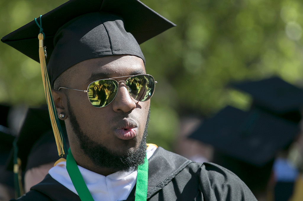 . The 123rd Commencement ceremony for Undergraduates was held at Fitchburg State University on Saturday, May 18, 2019. Denzel Weatherspoon from Leominster was ready for the ceremony to start. SENTINEL & ENTERPRISE/JOHN LOVE