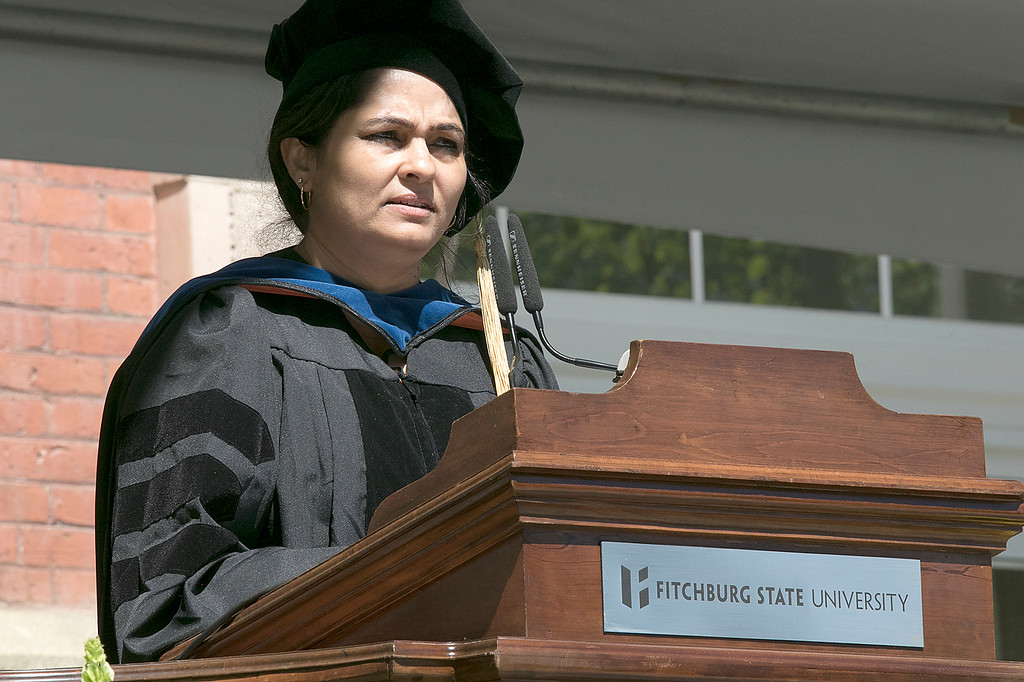 . The 123rd Commencement ceremony for Undergraduates was held at Fitchburg State University on Saturday, May 18, 2019. Professor of English Studies Dr. Aruna Krishnamurthy addresses the graduates during the ceremony. SENTINEL & ENTERPRISE/JOHN LOVE