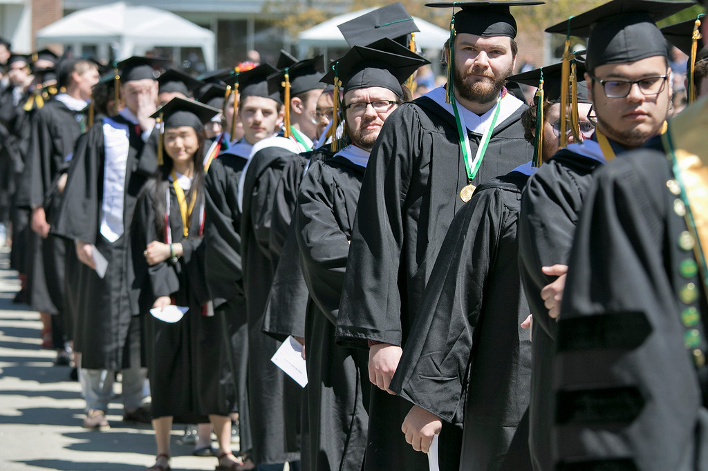 . The 123rd Commencement ceremony for Undergraduates was held at Fitchburg State University on Saturday, May 18, 2019. Students line up to get their degrees. SENTINEL & ENTERPRISE/JOHN LOVE