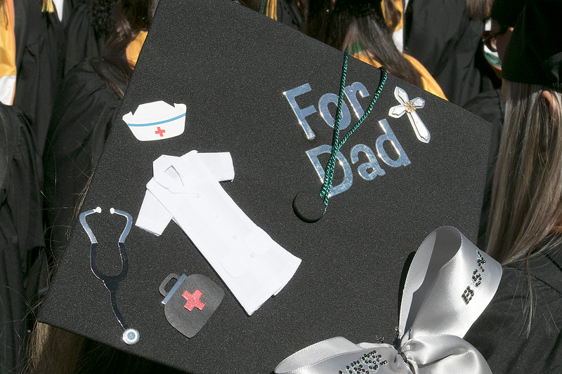 The 123rd Commencement ceremony for Undergraduates was held at Fitchburg State University on Saturday, May 18, 2019. This graduate's mortar board said she had done it all for her dad. SENTINEL & ENTERPRISE/JOHN LOVE