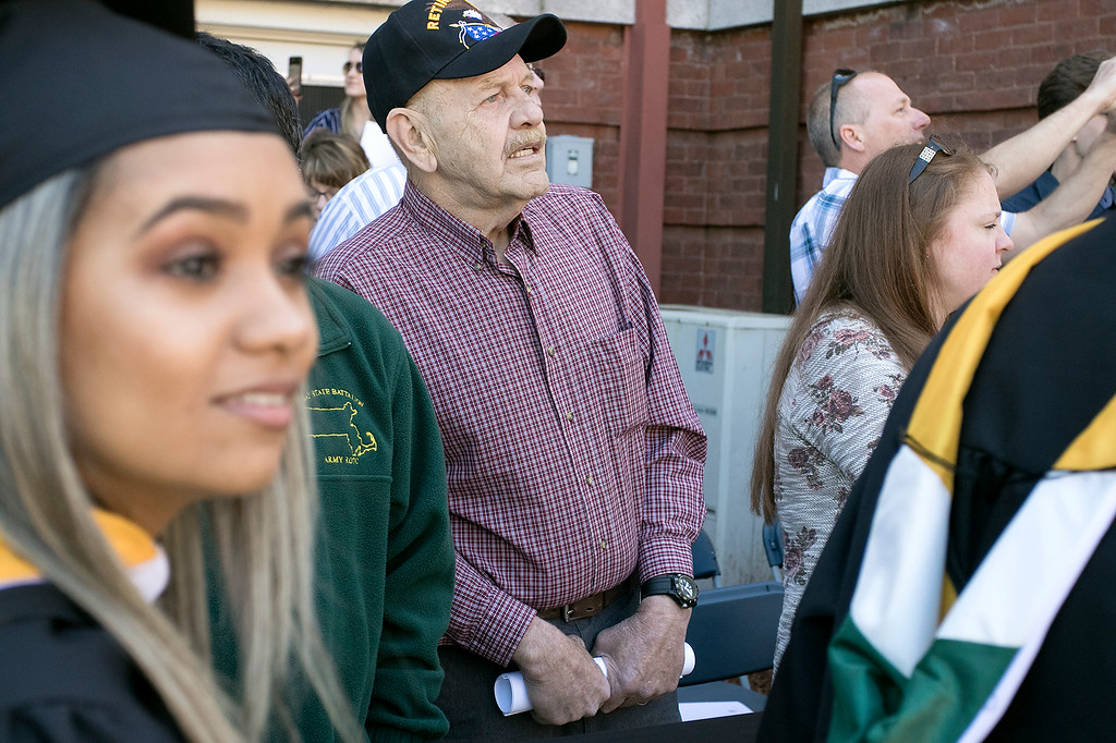 . The 123rd Commencement ceremony for Undergraduates was held at Fitchburg State University on Saturday, May 18, 2019. Veteran Herbert Racine of Shirley watches the graduates parade onto the quad for the ceremony. He was their to see his grandson Ryan Cooper of Shirley graduate. SENTINEL & ENTERPRISE/JOHN LOVE